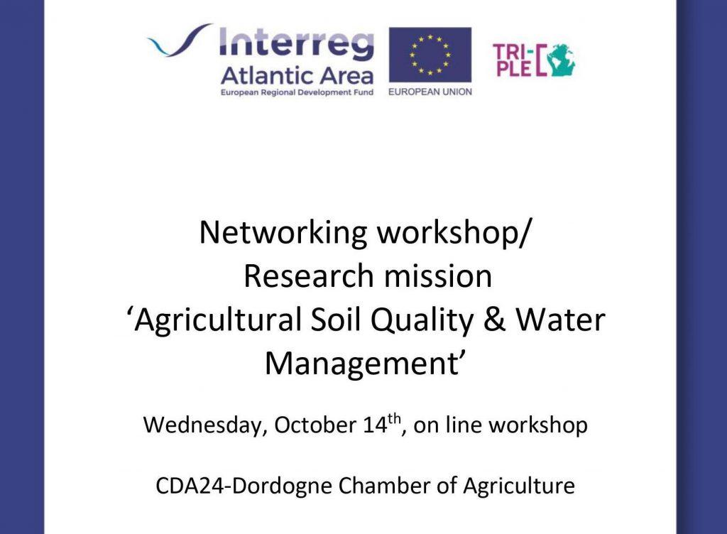 Participamos en el taller de Networking «Calidad del suelo agrícola y gestión del agua» organizado por la Cámara de Agricultura de Dordoña